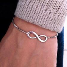 Bridesmaid Cross Bangles Jewelry Bracelet Number 8 Infinity Silver Plated