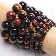 Colorful Natural Gift Round Beads Jewelry Tiger's Eye Stone Bracelet Bangle