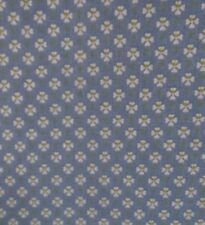 Small White Floral Print Lime Green Centers Blue Cotton Fabric BY YARD/HALF YARD
