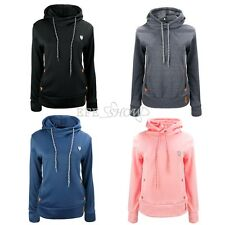 New Ladies Sweatshirt Jacket Coat Hoodie Jumper Womens Plain Cotton Hooded Hoody