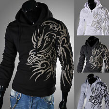 Mens Athletic Sporty Hooded Hoodie Winter Autumn Casual Outwear Holy Dragon Line