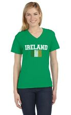 IRELAND Tricolor Flag Irish Pride St. Patrick's Day V-Neck Women T-Shirt Gift