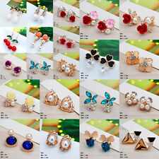 Fashion Elegant Women Lady Girls Crystal Rhinestone Flower Ear Stud Earrings