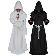 Monk Hooded Robe Cloak Cape Friar Medieval Renaissance Priest Mens Costume
