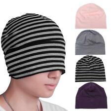 Womens Mens Striped Hats Skullies Beanies Cotton Bonnet Cap Sleeping Hats