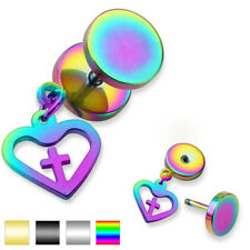 Unisex Ohrring Fake Plug made of surgical steel Stainless 316L Heart with Cross