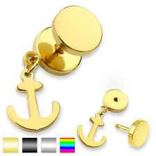 Unisex Ohrring Fake Plug made of surgical steel Stainless steel 316L Anchor