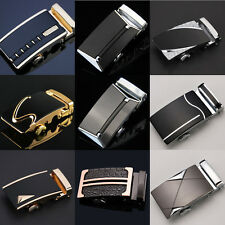 Hot Mens Belt Black Automatic Buckle Genuine Leather Waist Strap Belts 110CM