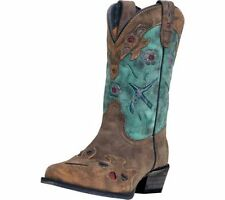 Dan Post Western Boots Girls Bluebird Kids Cowboy Tan Teal DPC2151