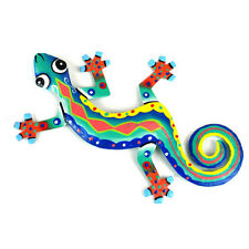 Fair Trade Handpainted Eight Inch Metal Geckos Valentines Day Gifts Wall Art