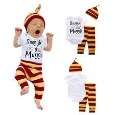 3PCS Set Newborn Baby Girls Boy Tops Romper +Long Pants Hat Outfits Clothes