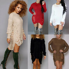 Sexy Womens Autumn Winter Long Sleeve Knit Jumper Top Party Sweater Mini Dress
