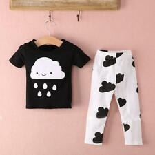 2X Newborn Toddler Kids Baby Boy Cotton Clothes T-shirt Tops+Pants Outfits 0-2Y