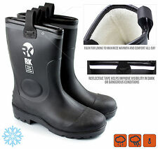 Men Insulated Waterproof Fur Interior Rubber Sole Winter Snow Cold Weather Boots