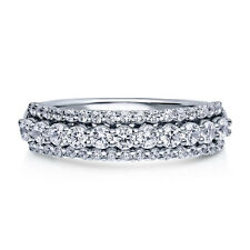 BERRICLE Sterling Silver Round CZ Anniversary Half Eternity Band Ring 0.78 Carat