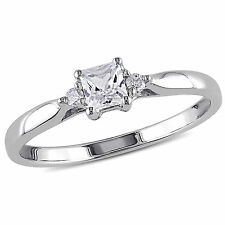 Sterling Silver Created White Sapphire and Diamond Accent Promise Ring