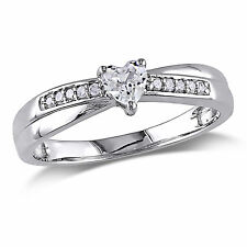 Sterling Silver Created White Sapphire and Diamond Accent Heart Ring