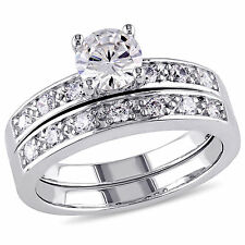 Sterling Silver White Cubic Zirconia Bridal Ring Set