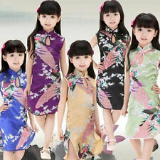 Baby Kid Girls Chinese Qipao Silk Sleeveless Floral Peacock Cheong-sam Dresses