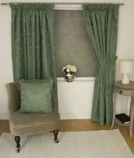 JACQUARD FLORAL DAMASK GREEN LINED PENCIL PLEAT CURTAINS 10 SIZES