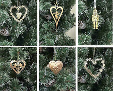 Selection Vintage Style Gold Heart Angel Nutcracker Christmas Tree Decorations