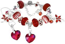 Red Faceted Crystal Glass Hearts Swarovski 18cm European Charm Bracelet Necklace