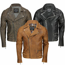 New Mens Vintage Soft Real Leather Biker Jacket in Washed Black, Brown, Rust Tan