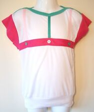 Girls T-Shirt Top Age 8-9, 9-10, 10-11, 12-13 Years White Pink Green abs Design