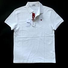NWT $295 Moschino Mens White Red Embroidered Heart Logo Polo Shirt M L AUTHENTIC