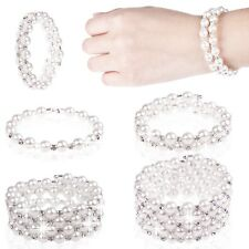 Pretty Woman Stylish Pearl Crystal Cuff Bangle Wedding Bridal Wristband Bracelet