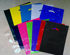 100 12x15 Small Plastic Handle Merchandise Party Favor Gift Bags Assorted Colors