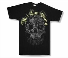 As I Lay Dying Cracked Skull Mens Slim Fit Black T Shirt New Official Adult