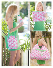 PERSONALIZED MONOGRAM SHELLY PINK & GREEN BEACH TOWEL LUNCH TOTE or COSMETIC BAG