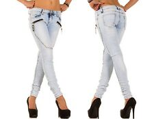 Röhrenjeans Hipster Jeans Skinny Jeans Trousers Tube Ladies Stretch Studs Zipper