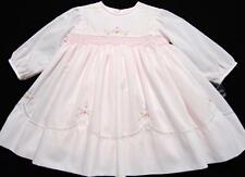 SARAH LOUISE SMOCKED PINK VOILE DRESS W/FLORAL EMBROIDERY & LACE~12M,18M~NWT'S