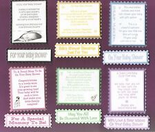 6 BABY SHOWER Greeting Card Verse Toppers W/WO Matching Sentiment Banners