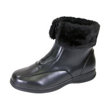 FIC PEERAGE Lana Women Wide Width Leather And Fleece Casual Ankle Boots