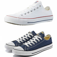 Mens Womens New All Star Converse Unisex White-Navy  Trainers Canvas Shoes