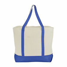LARGE Zippered Canvas Reusable Grocery Shopping Tote Boat Tote Totes Bag