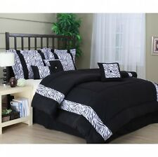 Zebra Print Comforter Set King Size Bedding Blanket Pillow Shams Bedskirt 7 Pc