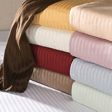"600-Thread-Count 1PC Soft Fitted Sheet Striped 100%Cotton 22"" Extra Deep Pocket"