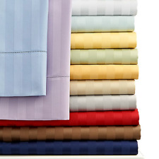 "800-Thread-Count 1PC Soft Fitted Sheet Striped 100%Cotton 18"" Extra Deep Pocket"