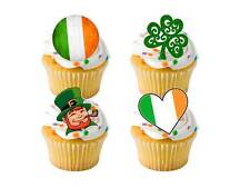 24 x St Patricks Day Irish Ireland STAND UP Cup Cake Toppers Edible Rice Paper