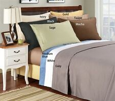 """600-Thread-Count 1PC Super Soft Fitted Sheet Solid 100% Cotton 22"""" Deep Pocket"""