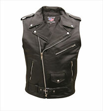 Men's Sleeveless Motorcycle Solid Black Buffalo Leather Jacket by Allstate