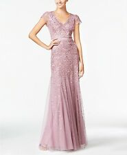 Adrianna Papell Dusty Rose Pink Cap-Sleeve Beaded Embellished Gown -NWT 4 6 8 10
