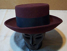 LILY J Women's Maroon Felt Fedora Hat with WIDE Black Ribbon Band New With Tag