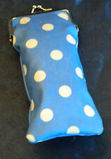 DOTTY BLUE/ VINTAGE FLORAL OILCLOTH GLASSES SUNGLASSES SPECTACLE  OR PHONE CASE