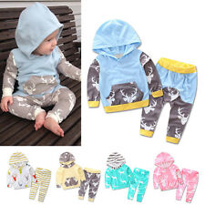 Baby Kids Boy Girl Kid Hoodie Tops T-shirt + Long Pants Cotton Clothes Outfits