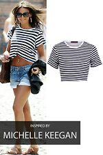 NEW WOMEN LADIES CELEB INSPIRED OVERSIZED STRIPED CROP T SHIRT TOPS SIZE 8/14